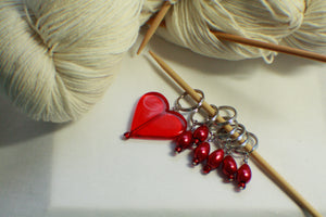 Red Heart Valentine's Day Knitting Stitch Markers - Special Edition - Large Size