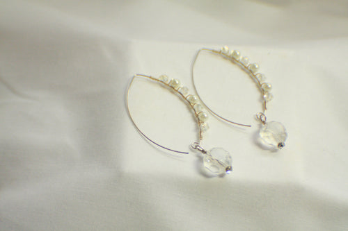 Wire Wrapped Decorative Threader Earrings - Crystal and Pearl