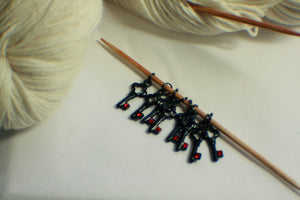 Black and Ruby Red Rhinestone Key Gothic Sock Knitting Stitch Markers