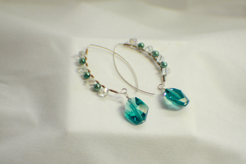 Wire Wrapped Decorative Threader Earrings - Crystal and Turquoise