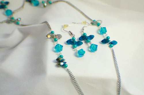 Blue Bead and Chain Long Necklace and Earring Set