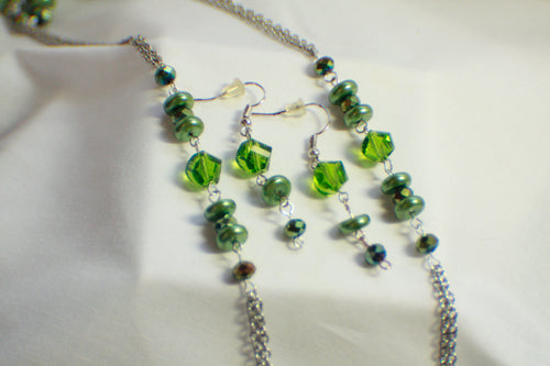 Green Bead and Chain Long Necklace and Earring Set