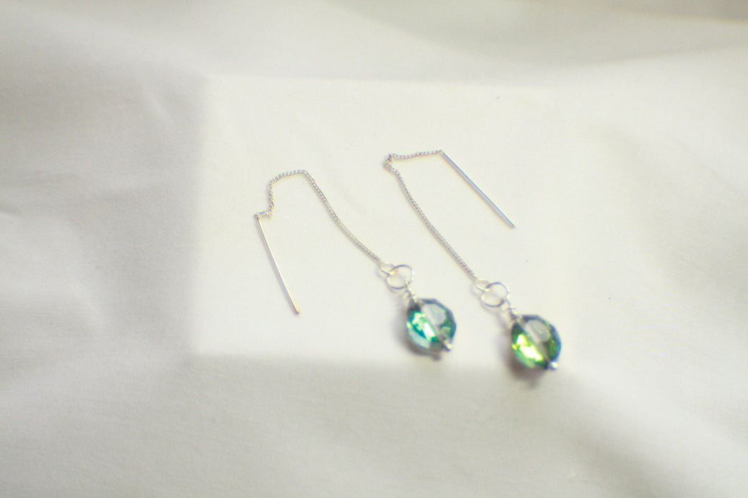 Decorative AB Crystal .925 Sterling Silver Ear Threads