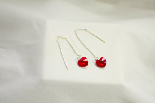 Red Crystal Heart .925 Sterling Silver Ear Threads