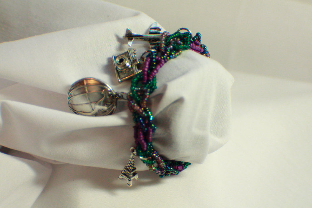 World Traveler Purple Beaded Charm Bracelet