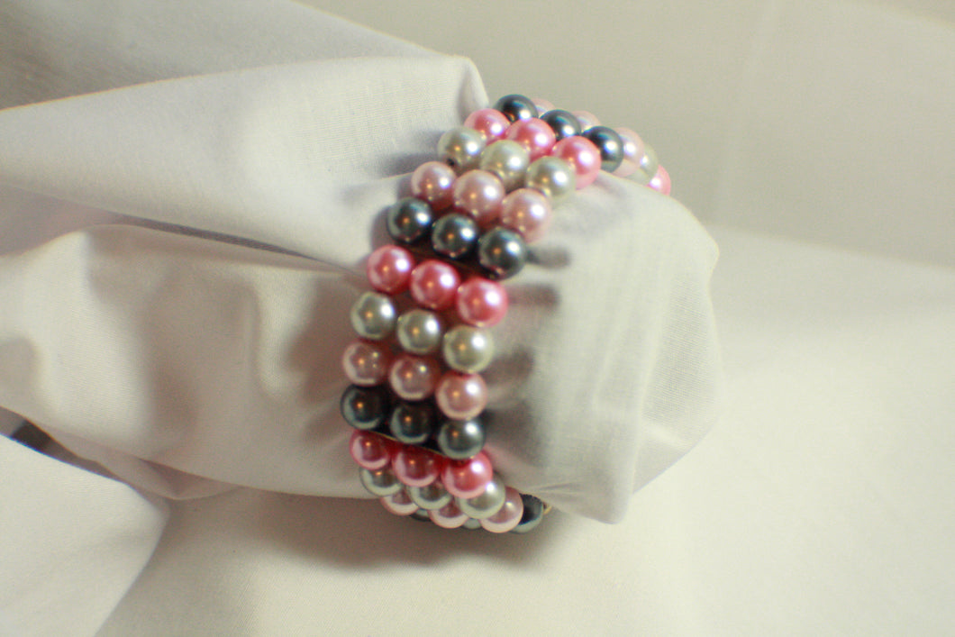 Shades of Pink Pearl Beaded Memory Wire Bracelet