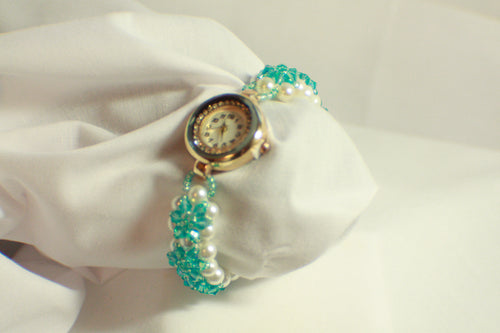 Blue Crystal Beaded Watch - 7.25 Inches