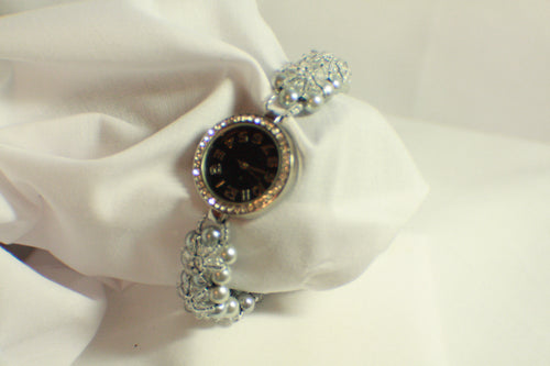 Grey Crystal Beaded Watch - 7.5 Inches