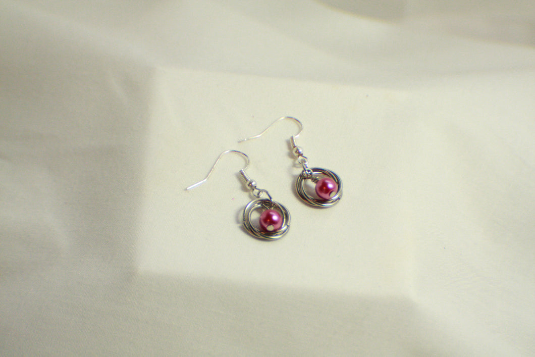 Twisted Silver Chainmaille Pearl Earrings - Multi Colors - Lightweight and Colorful