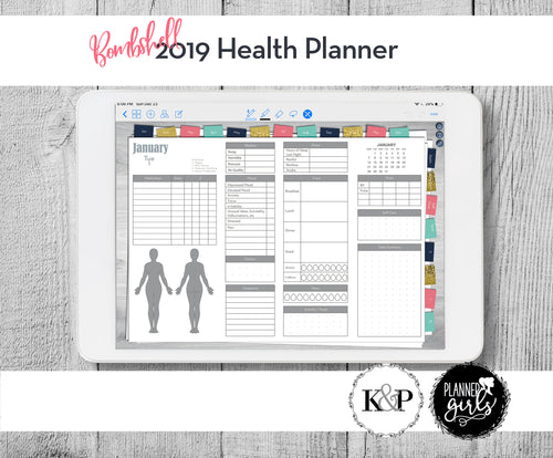 2019 Digital Mental Health Journal, Bombshell, Spoonie Journal, Health Journal, Chronic Illness Planner, Mood Tracker, Anxiety Journal