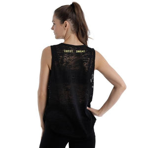 ACTIVEWEAR BLACK BURN OUT MUSCLE TANK - sweetsweateurope