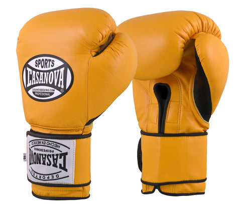 Casanova Boxing® Professional Velcro Training Fight Gloves - Yellow