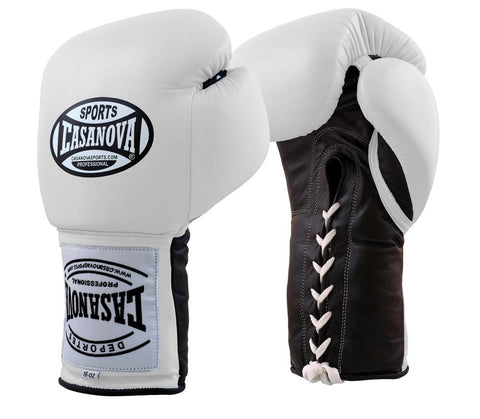 Casanova Boxing® Professional Lace Up Training Gloves – White / Black Palm