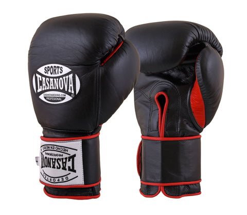 Casanova Boxing® Professional Velcro Training Fight Gloves - Black/Red