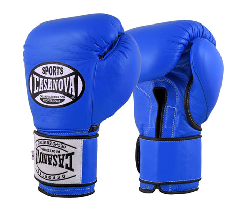 Casanova Boxing® Professional Velcro Training Fight Gloves - Blue
