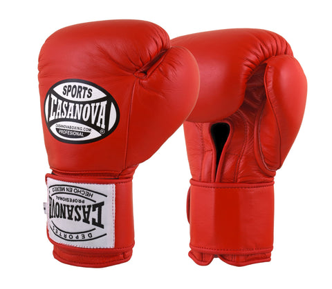Casanova Boxing® Professional Velcro Training Fight Gloves - Red