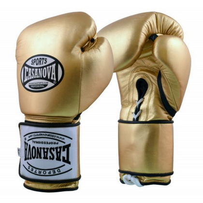 Casanova Hybrid Boxing Gloves with Lace-up Velcro Gold