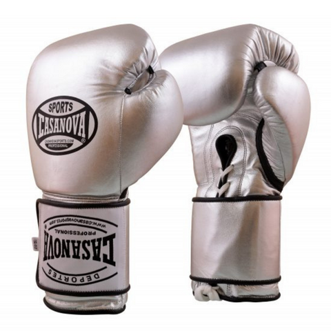Casanova Hybrid Boxing Gloves with Lace-up Velcro Silver