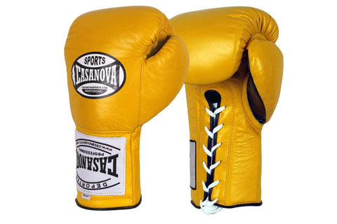 Casanova Boxing® Professional Lace-Up Fight Gloves - Yellow