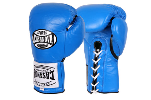 Casanova Boxing® Professional Lace-Up Fight Gloves - Blue