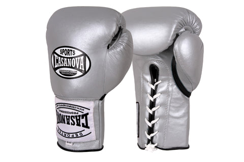 Casanova Boxing® Professional Lace-Up Fight Gloves - Silver