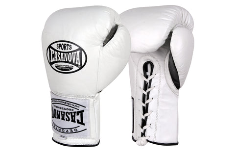 Casanova Boxing® Professional Lace-Up Fight Gloves - White