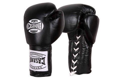 Casanova Boxing® Professional Lace Up Training Gloves - Black