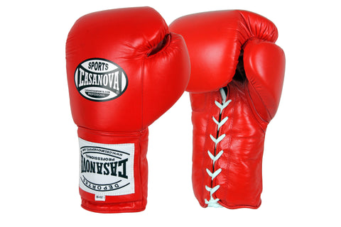 Casanova Boxing® Professional Lace Up Training Gloves - Red