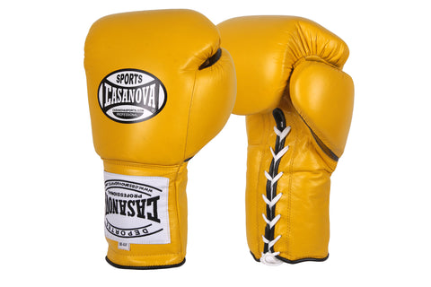Casanova Boxing® Professional Lace Up Training Gloves - Yellow