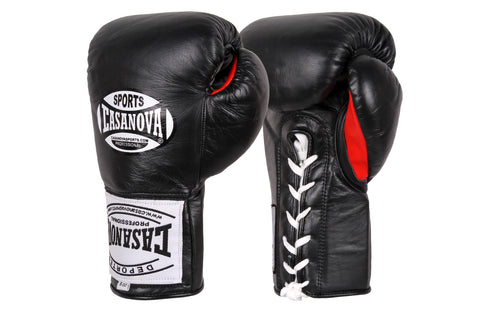 Casanova Boxing® Professional Lace-Up Fight Gloves - Black/Red