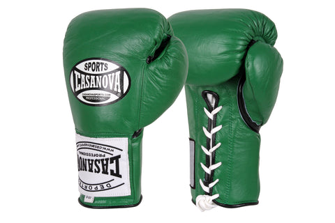 Casanova Boxing® Professional Lace-Up Fight Gloves - Green