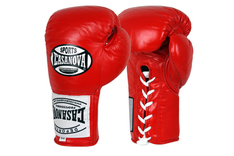 Casanova Boxing® Professional Lace-Up Fight Gloves - Red