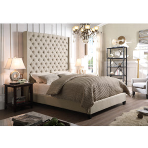 Marie Wingback Tufted High Headboard Upholstered Bed