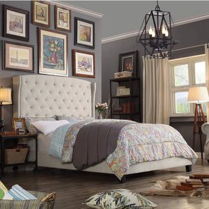Millred Polyester Upholstered Wingback Panel Bed
