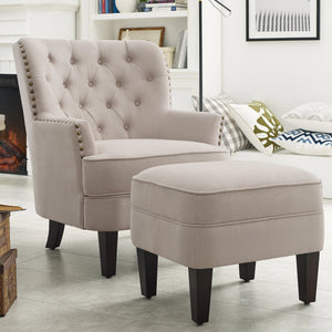 Gustavo Fabric Nailhead Club Chair, Contemporary Accent Chair with Ottoman