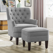 Load image into Gallery viewer, Gustavo Fabric Nailhead Club Chair, Contemporary Accent Chair with Ottoman