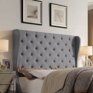 Raquella Upholstered Wingback Panel Bed