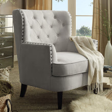 Load image into Gallery viewer, Gustavo Fabric Nailhead Club Chair, Contemporary Accent Chair Beige Velvet