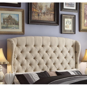 Shirley Upholstered Queen Wingback Standard Bed
