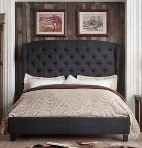 Shirley Upholstered Wingback Panel Bed