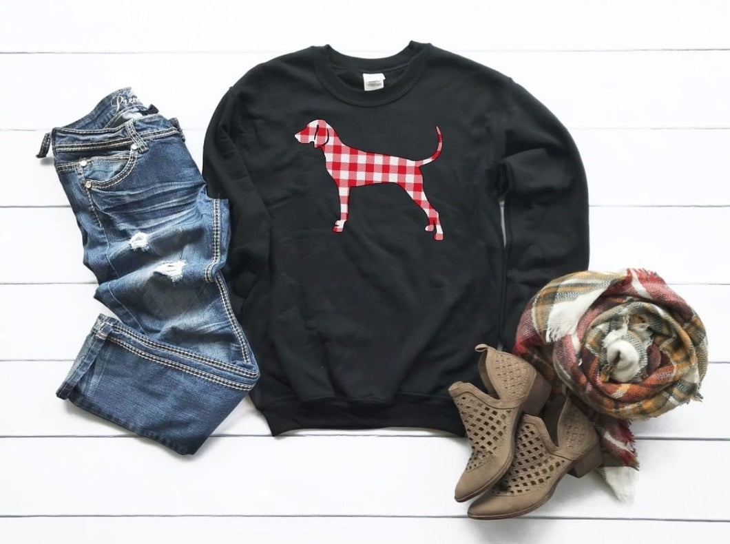 Coonhound Christmas Sweatshirt- Black