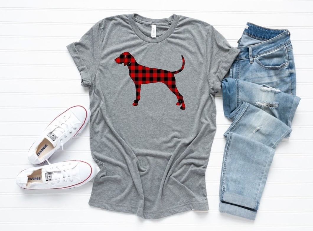 Coonhound Christmas T-Shirt- Grey