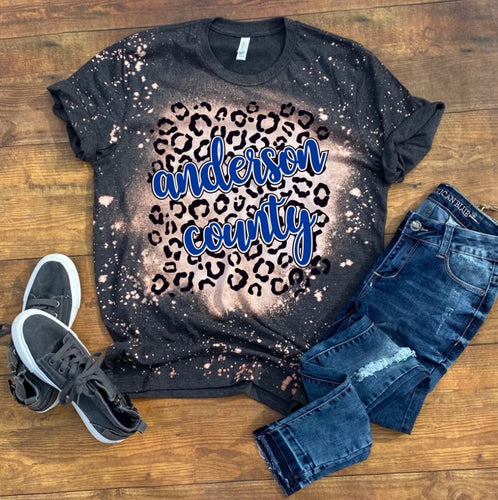 Anderson County Leopard Print Bleached T-Shirt - Dark Grey Heather