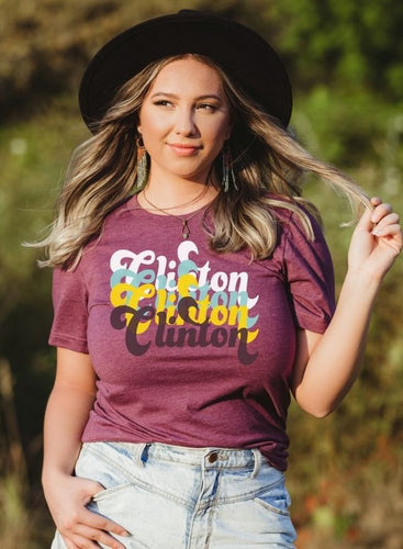 Boho Retro Clinton T-Shirt - Heather Maroon