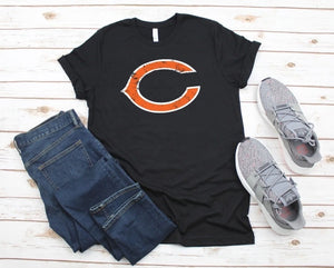 "Clinton ""C"" Distressed T-shirt - Black"