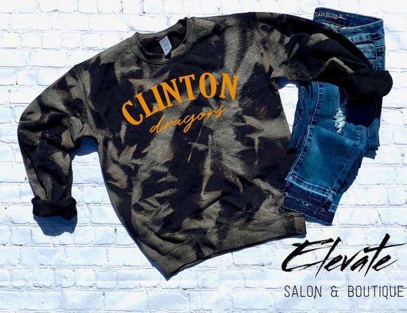 Clinton Dragons Bleached Sweatshirt - Black