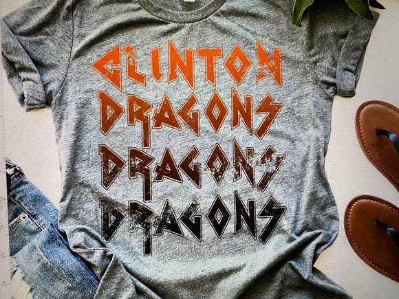 Clinton Dragons Ombre T-Shirt - Grey