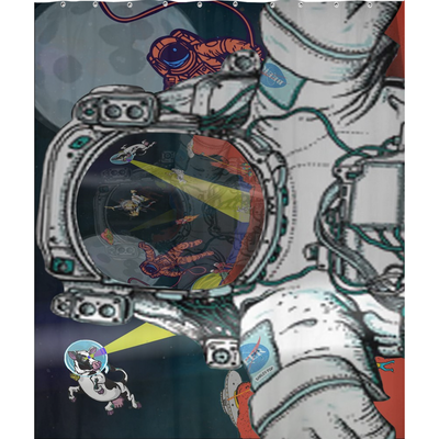 Shower Curtains-Astronaut Selfie-(Craft Beer Artwork) - joestickel