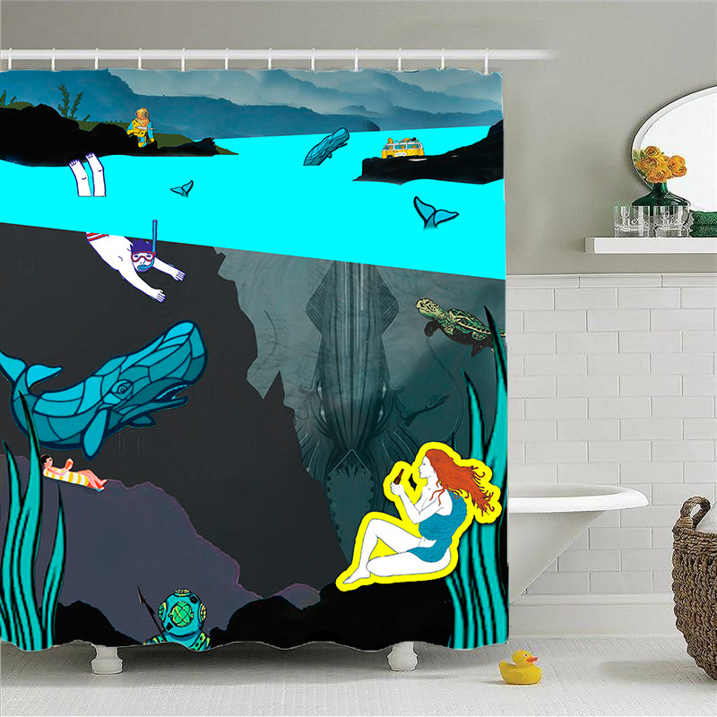 Shower Curtains-Deep Sea View-(Craft Beer Artwork)