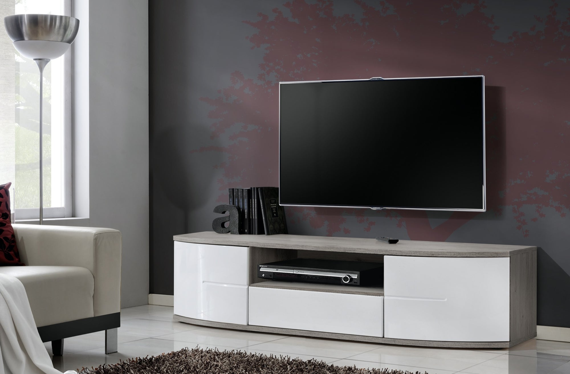 Meuble TV Chêne San remo/Blanc - Collection Prestige